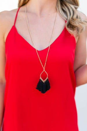 Gameday Tassel Necklace - Black