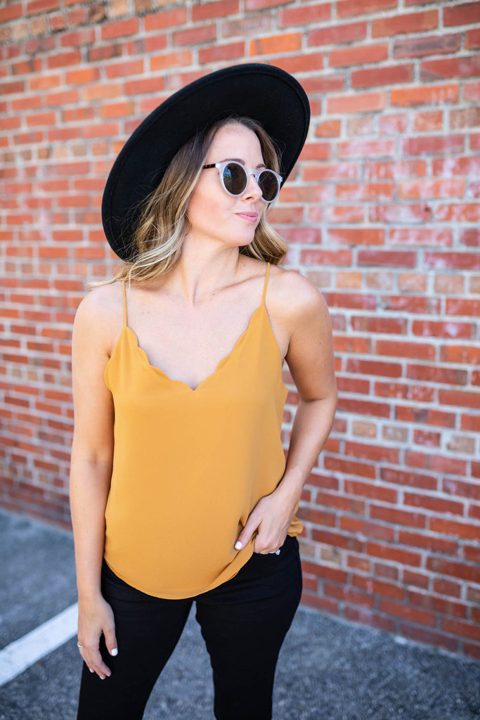 Take It Scallop Tank - Gold - A Cut Above Boutique
