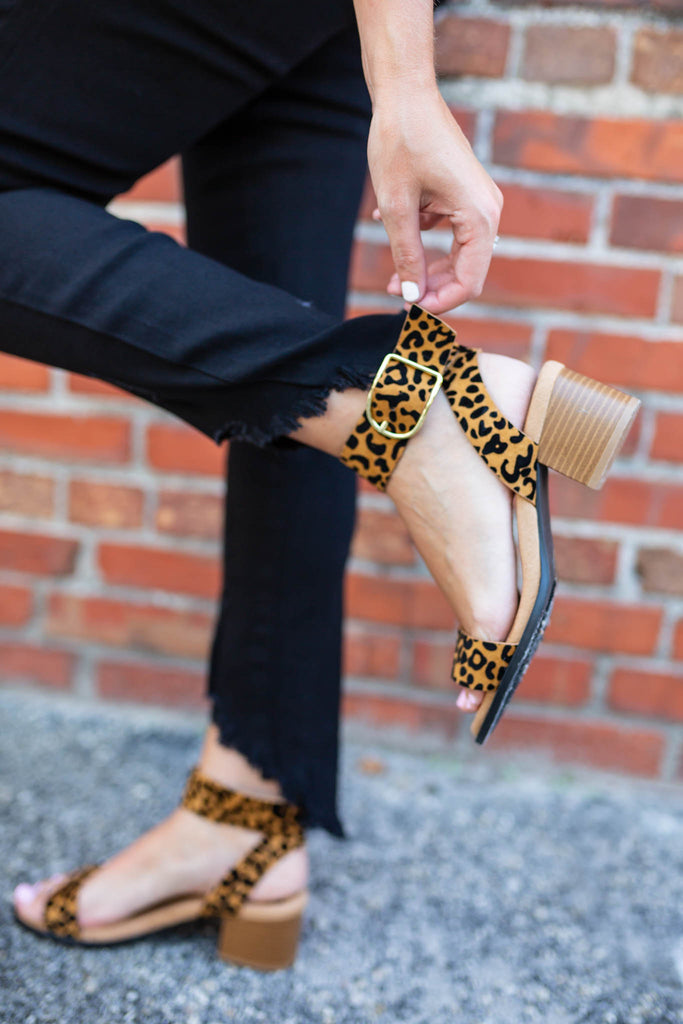 Leopard Ankle Strap Sandal - A Cut Above Boutique