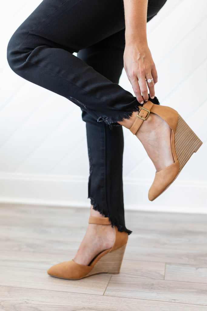 Tan Pointed Wedge - A Cut Above Boutique