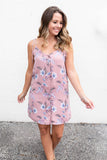 Button Me Floral Tie Dress - Mauve - A Cut Above Boutique