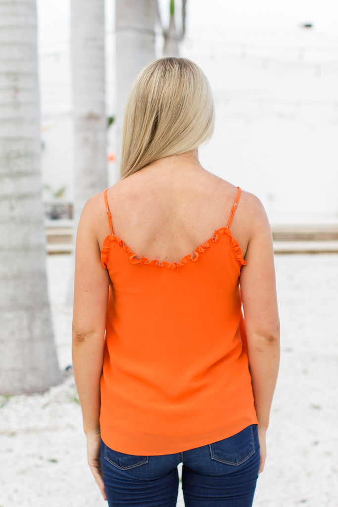 Ruffle Up Pretty Tank - Orange - ShopACutAbove