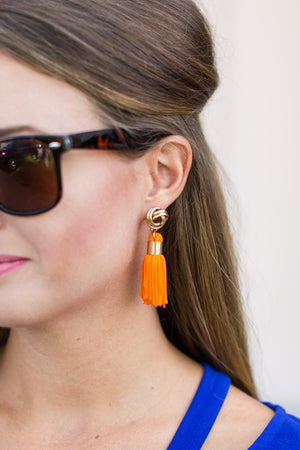 Orange Fringe Earrings