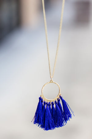 Gameday Tassel Necklace - Blue - A Cut Above Boutique