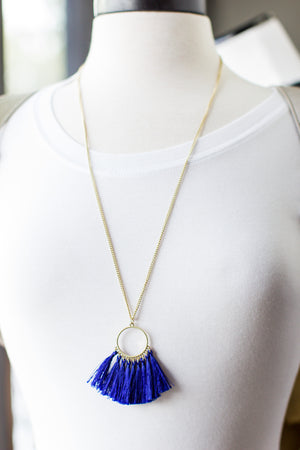 Gameday Tassel Necklace - Blue - ShopACutAbove