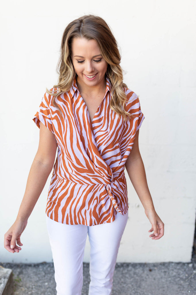 Gone Wild Knotted Blouse - A Cut Above Boutique
