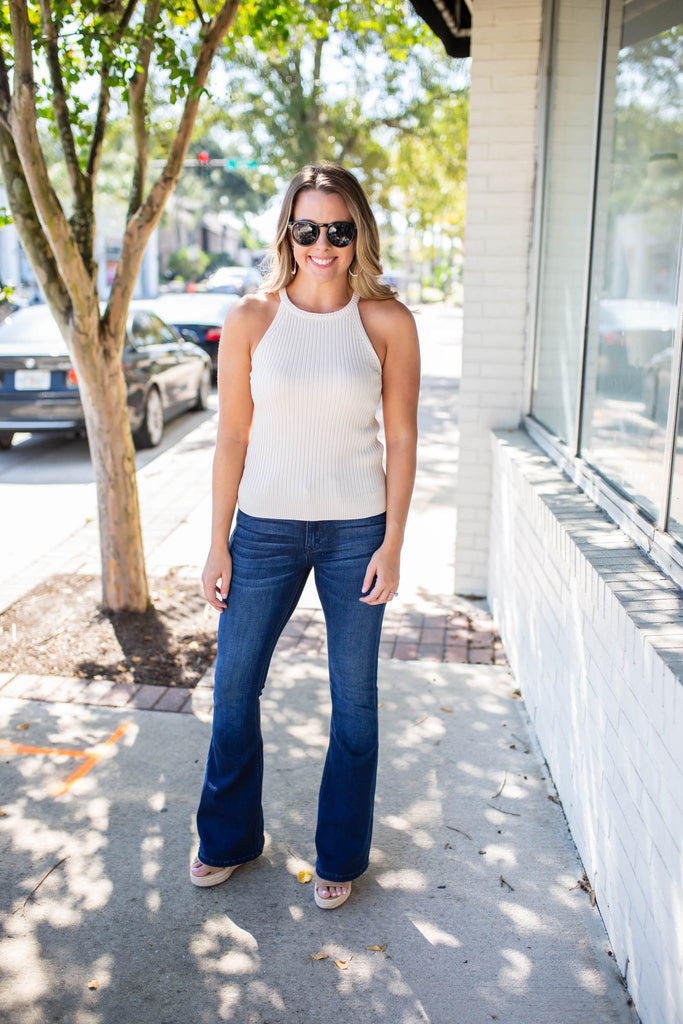 Petite Fit Flare Jeans - Dark Wash - A Cut Above Boutique