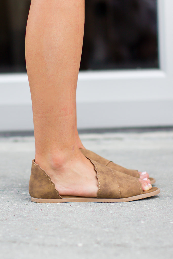 Cut It Out Scallop Flat - Tan - A Cut Above Boutique