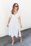 Pretty Thang Polka Dot Midi Dress - White - A Cut Above Boutique