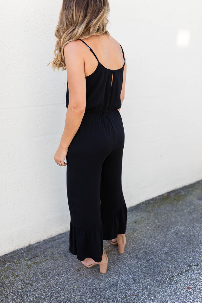 Break Free Ruffle Hem Jumpsuit - Black - A Cut Above Boutique