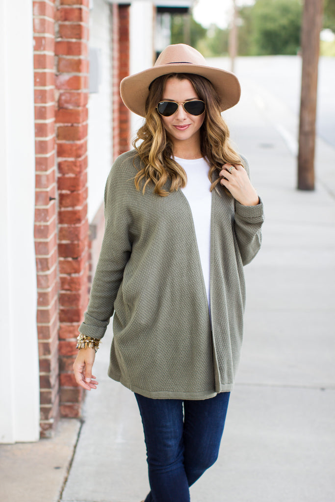 Dream Above Cardigan - Olive - A Cut Above Boutique