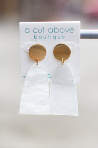 White + Gold Acrylic Earring