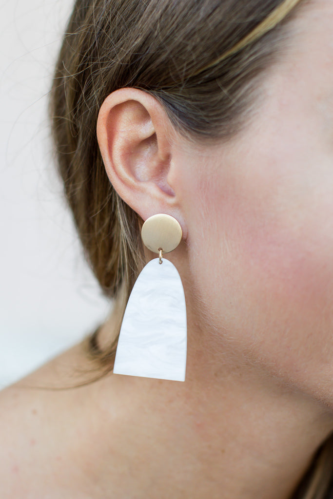White + Gold Acrylic Earring - A Cut Above Boutique