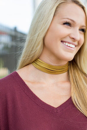 Gold Leather Choker - A Cut Above Boutique