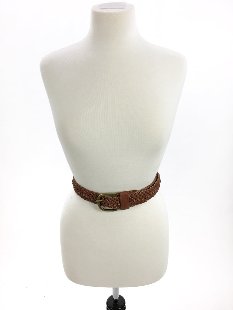 Wide Braided Belt - Brown