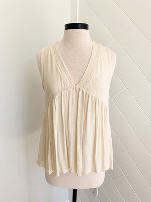 Washed Up Babydoll Tank - Natural - A Cut Above Boutique