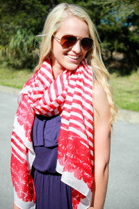 Between The Lines Scarf – Red - ShopACutAbove