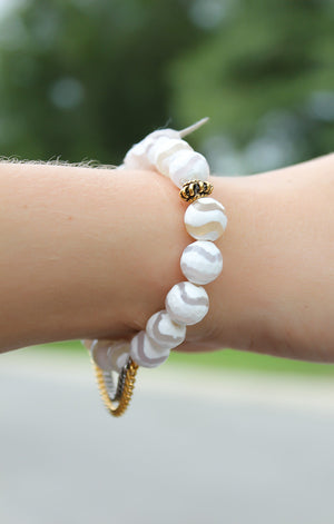 Betsy Pittard Designs: Chain Bracelet White Stripes - ShopACutAbove