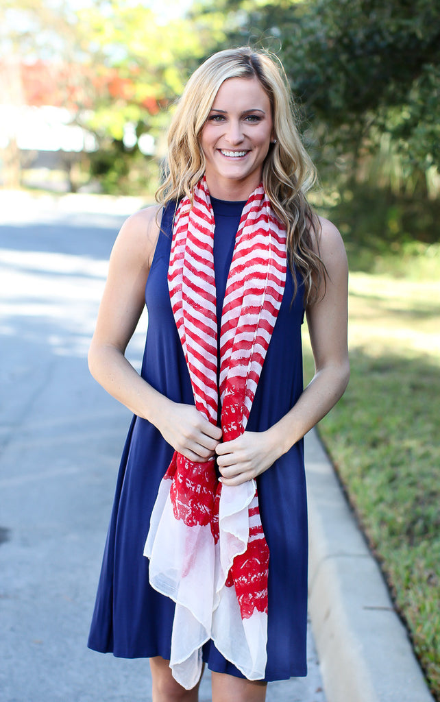 Between The Lines Scarf – Red - A Cut Above Boutique