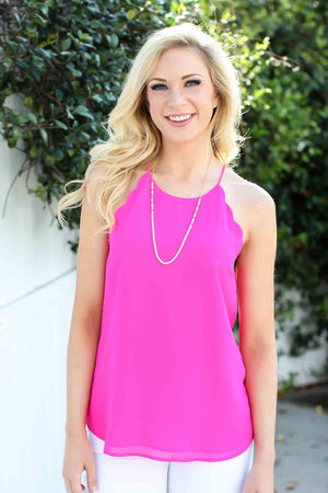 Scallop Tank - Hot Pink - A Cut Above Boutique