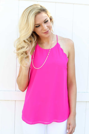 Scallop Tank - Hot Pink