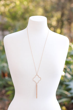 Quatrefoil Tassel Necklace - Gold - A Cut Above Boutique