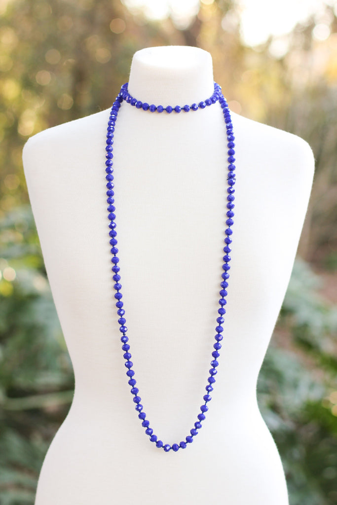 Falling For Blue Beaded Necklace - A Cut Above Boutique