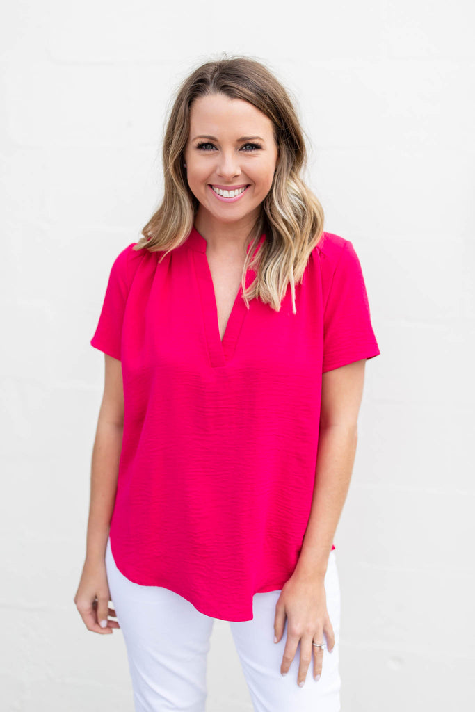 Around We Go Blouse - Fuchsia - A Cut Above Boutique