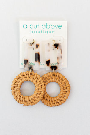 Walk On Tortoise Earring - Ivory - A Cut Above Boutique