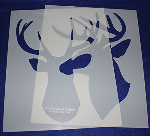 2 Piece Buck-Deer Head Stencils F/S-Mylar 14 Mil Large - Painting /Crafts/ Templates
