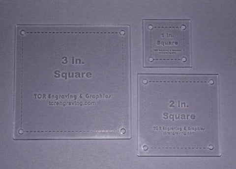 "Square Quilt Templates. 1/8"" 1"", 2"", 3"". - Clear w/ Guide Line Holes"