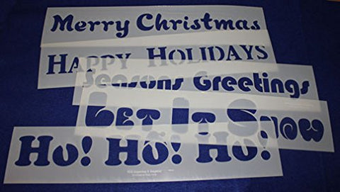 "5 Pc Set Holiday Message Stencils 14 Mil Mylar-5"" x 23.5 Painting/Crafts"