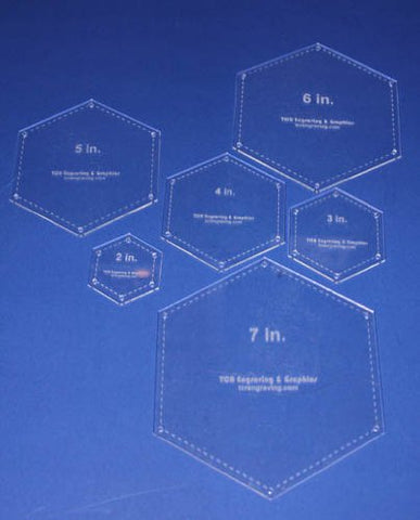 "Hexagon Templates. 2"", 3"", 4"", 5"", 6"", 7"" - Clear w/Guide Line Holes 1/8"""
