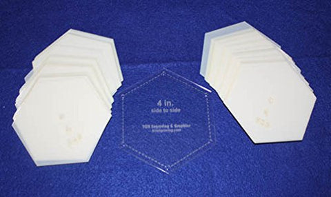 "Mylar 4"" Hexagon (Side to Side Measurement) 51 Piece Set - Quilting / Sewing Templates"