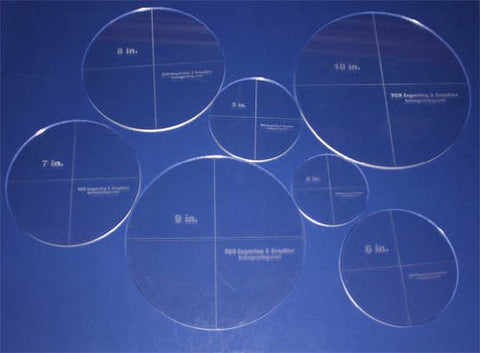 "Circle Template 7 Piece Set. 4"",5"",6"",7"",8"",9"",10"" - Clear 1/4"" Thick"