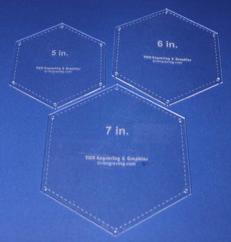 "Hexagon Templates. 5"", 6"", 7"" - Clear w/Guide Line Holes 1/8"""