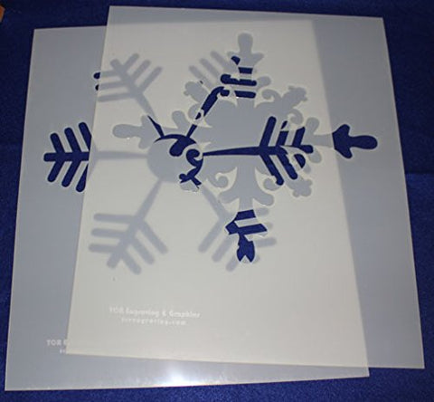 2 Piece Snowflake Stencils Mylar 14 Mil Ex Large - Painting /Crafts