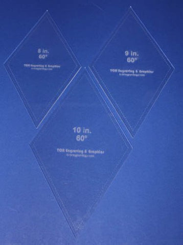 "Diamond Templates 3 Piece Set 8"", 9"", 10"" - Clear 1/8"" 60 Degree"