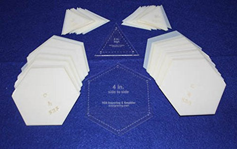 "Mylar 4"" Hexagon (Side to Side Measurement) & 2"" Equilateral Triangle 102 Piece Set - Quilting / Sewing Templates"