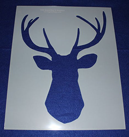 "Buck-Deer Head Stencil F-Mylar 14 Mil 17.5""H X 14""W - Painting /Crafts/ Templates"