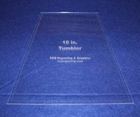 "10"" Tumbler Quilt Template - With Seam Allowance -Clear 1/8"" Acrylic"