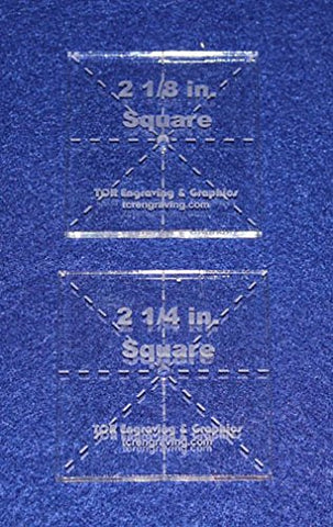 "Square Templates. 2 Piece Set of 2 1/8"" & 2 1/4"""" - No Seam -Clear ~1/4""- Postage Stamp"