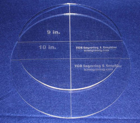 "Circle Template 2 Piece Set. 9"",10"" - Clear ~1/4"" Thick"