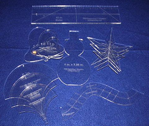 "Holiday Gift Set - 1/4"" Acrylic-- 12 Pieces -Quilting Templates"