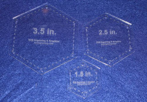 "Hexagon Half Size Templates. 1.5"", 2.5"", 3.5"" - Clear 1/8"""