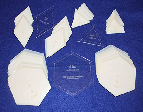 "Mylar 4"" Hexagon (Side to Side Measurement) & 4"" 60 Degree Diamond & 2"" Equilateral Triangle 153 Piece Set - Quilting / Sewing Templates"