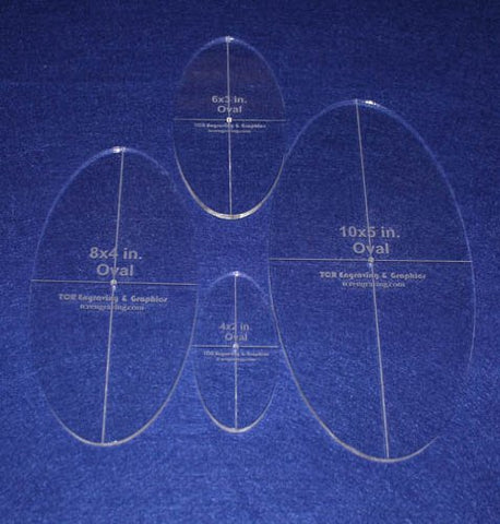 "Oval Quilt Templates 4 Piece Set. 4"", 6"", 8"",10"" - Clear 1/4"" Thick w/ Guidelines"
