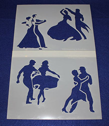 "Mylar 2 Pieces of 14 Mil 8"" X 10"" Dancing Stencils- Painting /Crafts/ Templates"