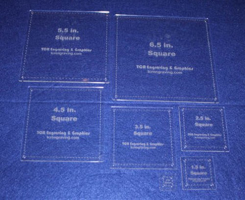 "7 Piece Set Square Half Size Templates. .5"" to 6.5"" - Clear 1/8"""