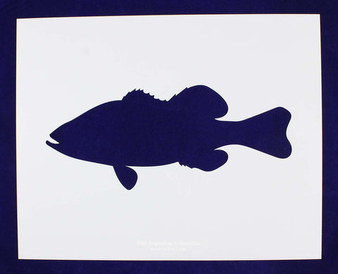 Large Bass Swiming (fish) Stencils -1 pc -Mylar 14mil - Painting /Crafts/ Templates